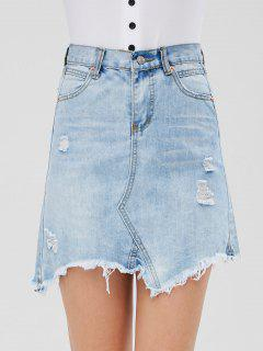 Distressed Denim Mini Skirt - Jeans Blue L