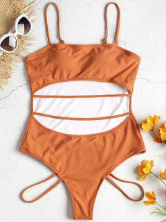 Strappy Cut Out Swimsuit - Rust M