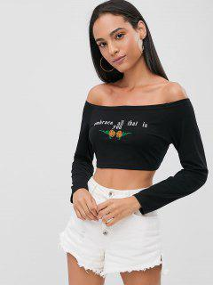 Off Shoulder Embroidered Crop Tee - Black L