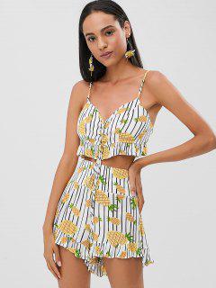 Pineapple Lace Up Cami Shorts Set - Multi M