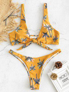 Juego De Bikini Delantero Con Lazo Estampado De árbol - Amarillo Brillante S