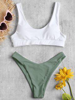 Scoop Two Tone High Leg Bikini Set - Camouflage Green S