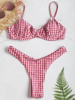 Conjunto De Bikini Push Up Thong Con Aro Y Guinga - Multicolor L