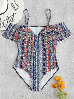 Plus Size Ruffles Printed Swimsuit - Multi L
