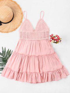 Crochet Panel Cami Flare Dress - Pig Pink M