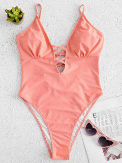 Strappy High Cut One Piece Swimsuit - Misty Rose S