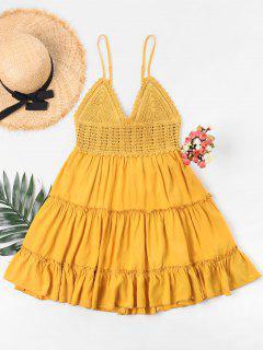 Robe Évasée Avec Bretelles Fines Avec Empiècement Au Crochet  - Jaune D'abeille M