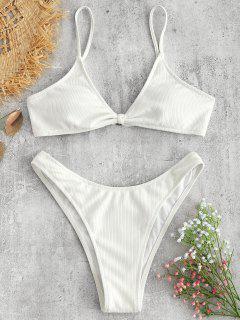 Rib Textured Bralette Bikini Set - White L