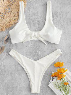 Bunny Tie Front Bikini Top And Bottoms Set - White S