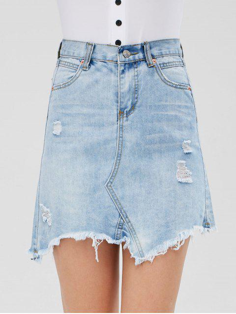 trendy Distressed Denim Mini Skirt - JEANS BLUE XL Mobile