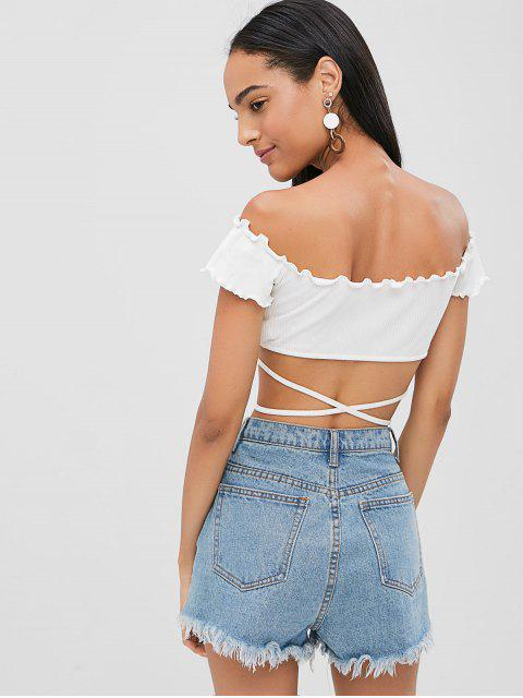 womens Lace Up Crop Tee - WHITE XL Mobile