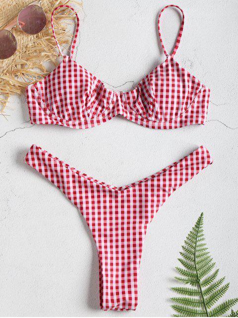 Gingham Bügel Push Up Tanga Bikini Set - Multi S Mobile