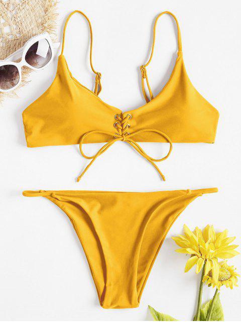 sale Front Lace-Up Thong Bikini Set - BRIGHT YELLOW M Mobile