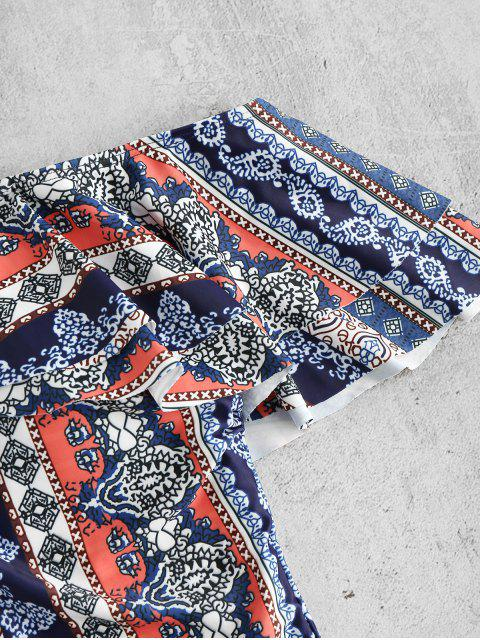 ladies Plus Size Ruffles Printed Swimsuit - MULTI 1X Mobile