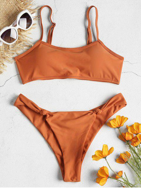 women Knot Bralette Bikini Set - TANGERINE S Mobile