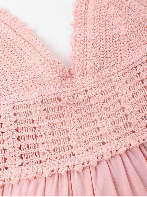 fashion Crochet Panel Cami Flare Dress - PIG PINK M Mobile