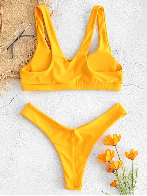 fancy V-back Tank Bikini Set - BRIGHT YELLOW L Mobile