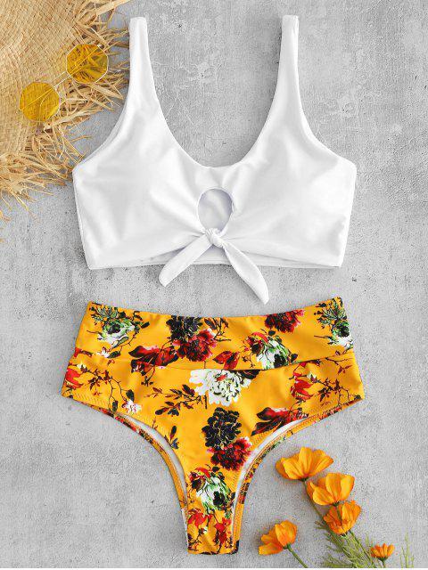 fancy Front Knot Floral Bikini Set - WHITE M Mobile