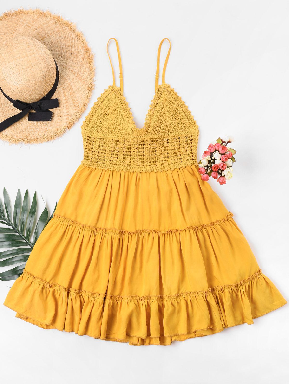 Crochet Panel Cami Flare Dress, Bee yellow