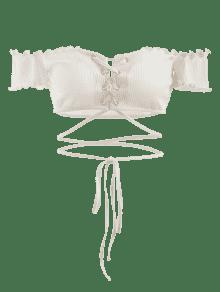 Camiseta Con Cordones De Xl Encaje Blanco rZ6rA
