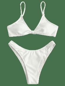100e2101f44d4 2019 Rib Textured Bralette Bikini Set In WHITE M