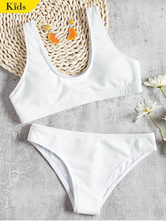 Ensemble Bikini Côtelé à Col Dégagé pour Enfant - Blanc 8T