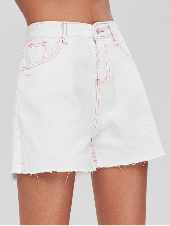 trendy Contrast Topstitching High Waisted Denim Shorts - WHITE L