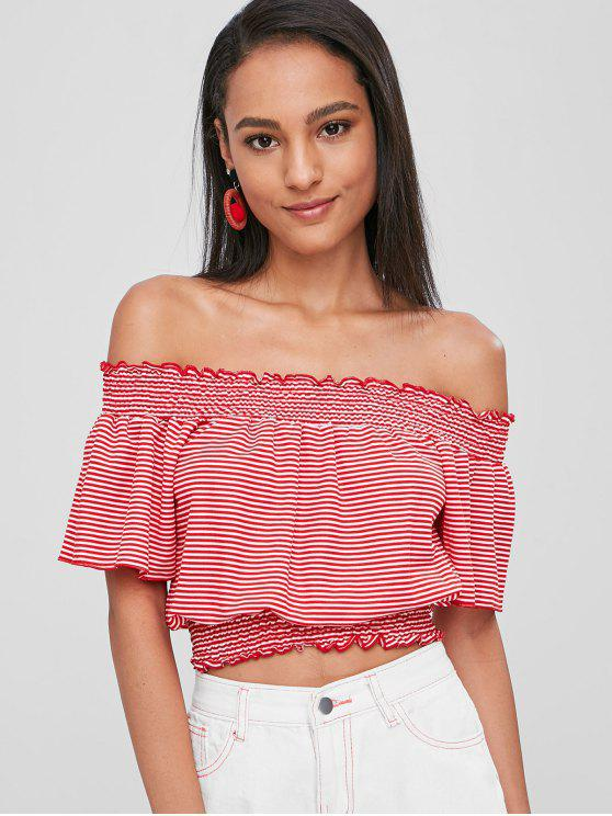6061b0277cd 27% OFF] 2019 Striped Smocked Off Shoulder Top In LAVA RED | ZAFUL