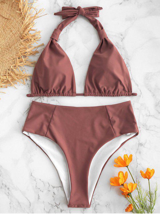 Halter Swimwear De Cintura Alta De Cintura Alta - Batom Roxo L
