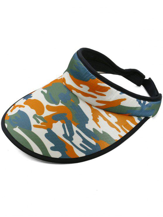 women Camouflage Printed Open Top Sun Hat - ORANGE