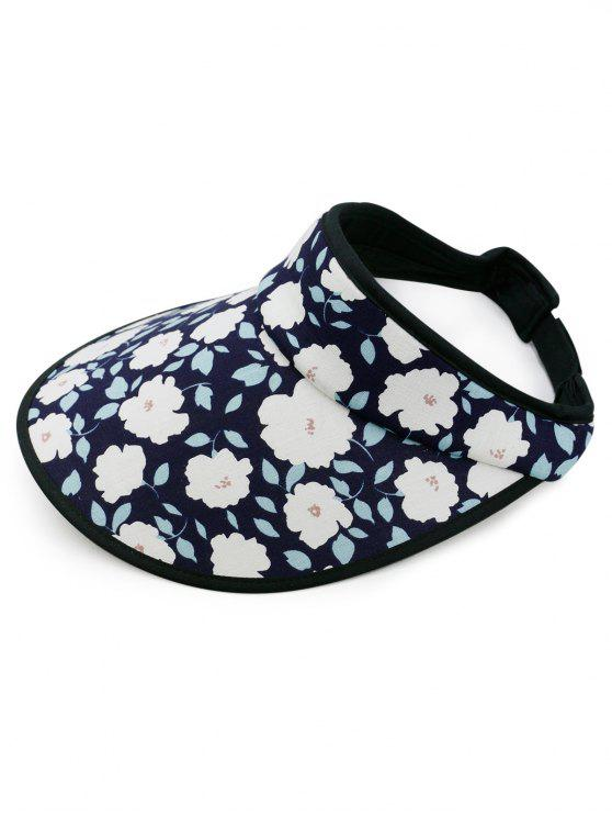 women's Stylish Flowers Printed Open Top Sun Hat - CADETBLUE