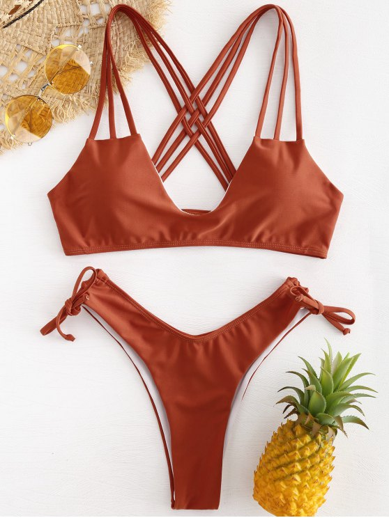 sale Cross Straps High Cut Bikini - CHESTNUT RED L