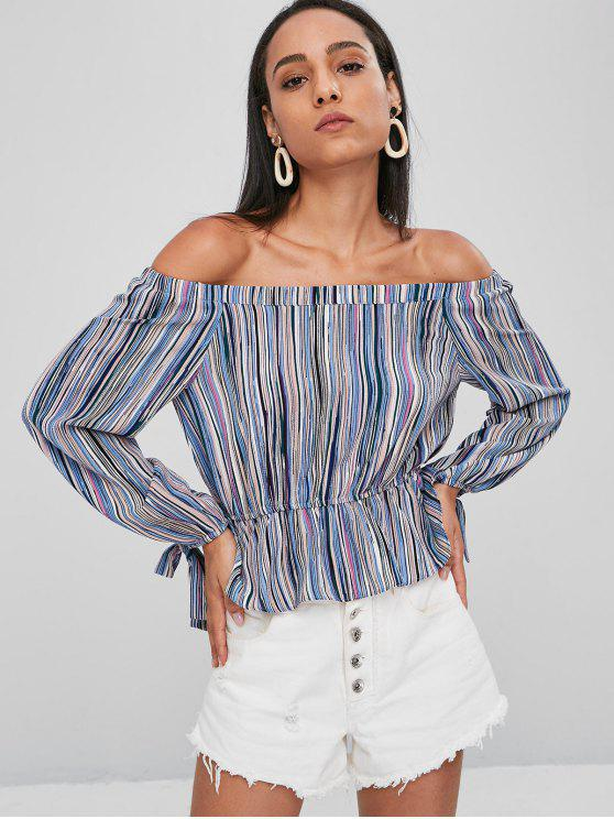 trendy Striped Off The Shoulder Blouse - MULTI M