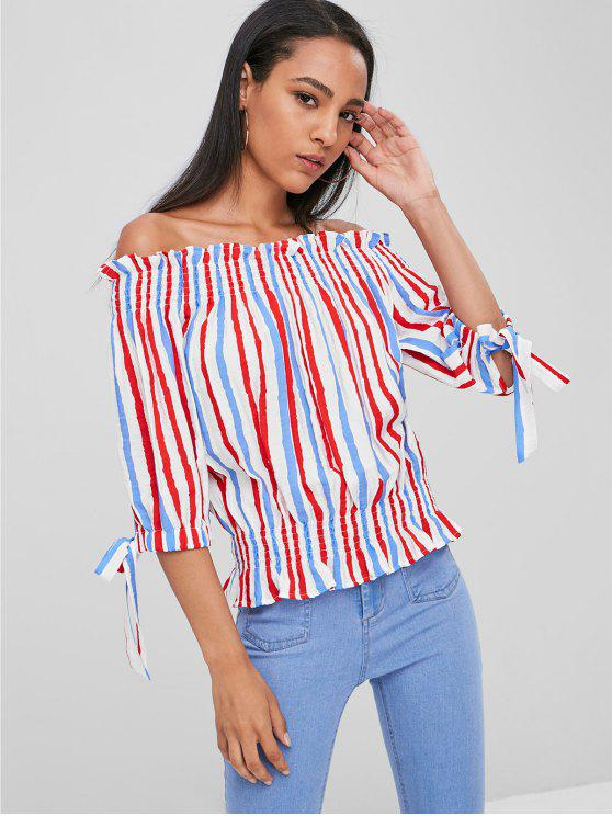 fbbbb267ff2 68% OFF  2019 Tied Off Shoulder Striped Blouse In MULTI