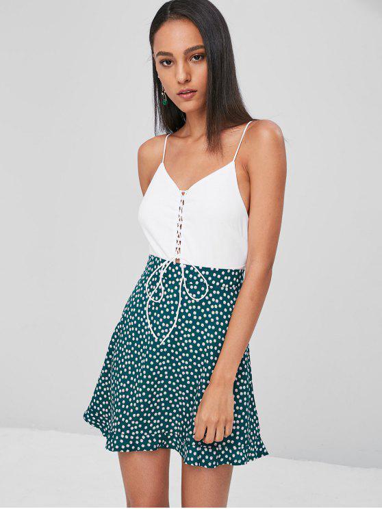 trendy Lace Up High Cut Bodysuit - WHITE S