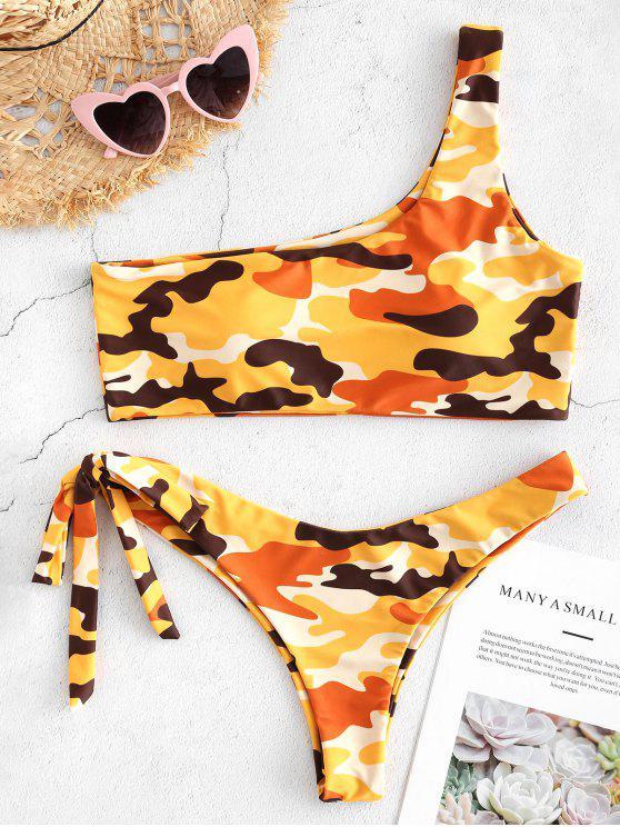 Bikini une Epaule en Ensemble Noué et en Camouflage - Multi L