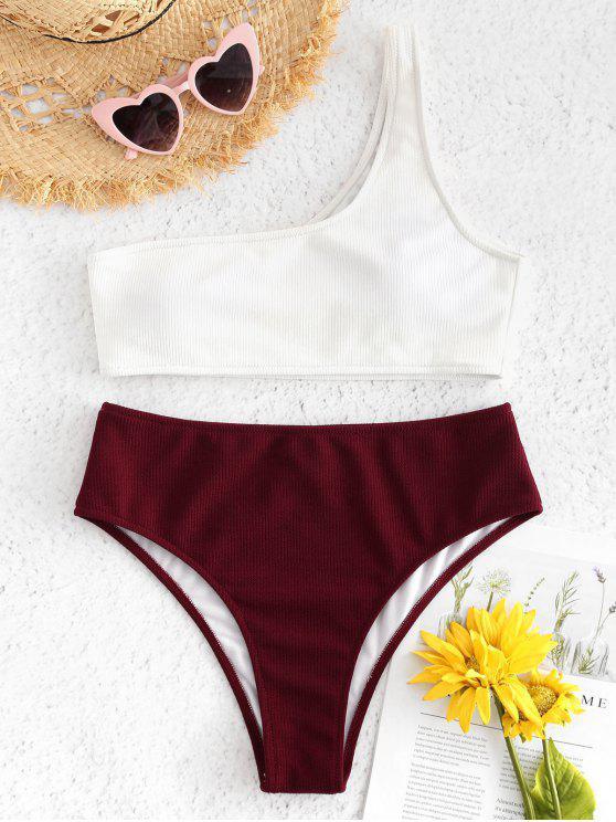 women's One Shoulder High Waisted Ribbed Bikini - RED WINE S