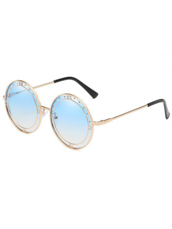buy Anti Fatigue Roma Metal Frame Round Sunglasses - BLUE KOI