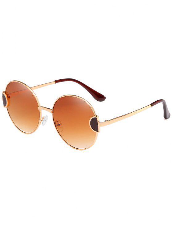 Gafas de sol redondas de lentes transparentes de marco completo único de metal - Camel Marrón