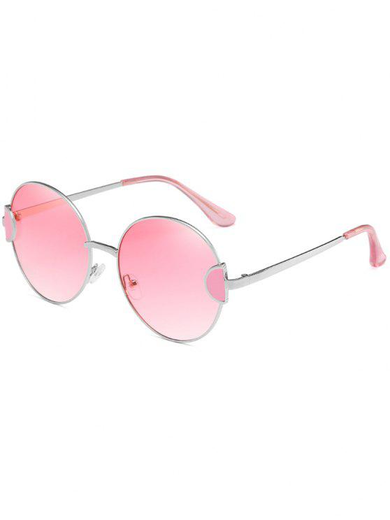 ladies Unique Metal Full Frame Clear Lens Round Sunglasses - PINK