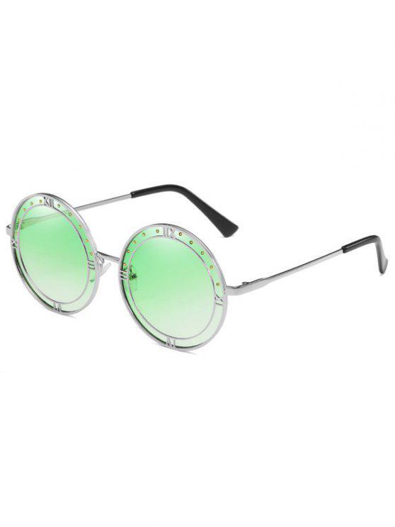 Anti Fadiga Roma Metal Frame Rodada Óculos De Sol - Verde de Sinal de Luz
