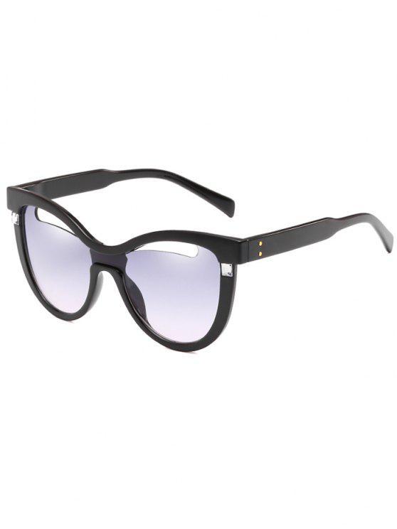 Novidade Oco Out Frame Catty Sunglasses - Cinza Azulado