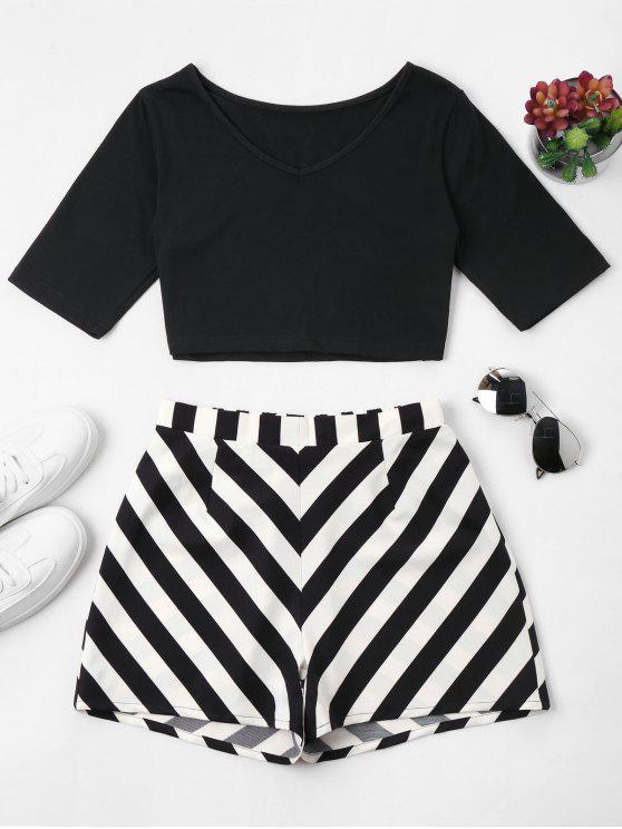 fashion Striped Crop Shorts Set - BLACK S