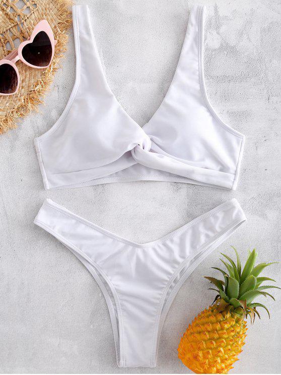 fancy High Cut Twist Front Bikini Set - WHITE S