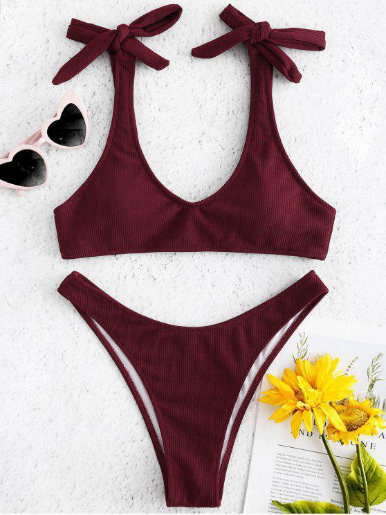 affordable Tie Shoulder Ribbed Bikini Set - RED WINE M
