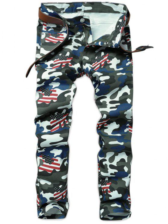 latest Camo American Flag Inspired Straight Jeans - ACU CAMOUFLAGE 36