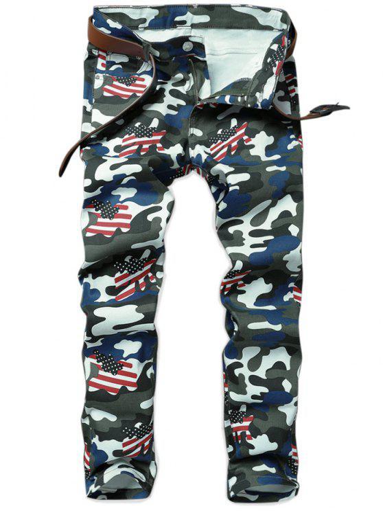 Camo American Flag inspiriert gerade Jeans - ACU Tarnanstrich 36