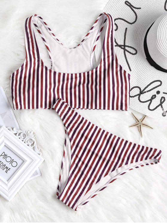 ladies Colorful Striped High Cut Bikini Set - FIREBRICK S