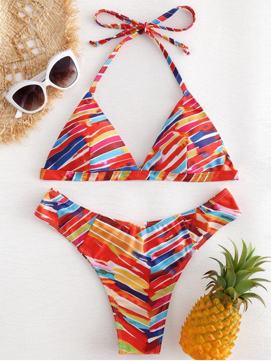 women Rainbow Striped Bikini - MULTI L