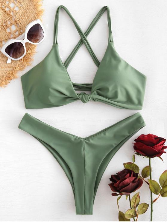 Bikini con nudo cruzado - Verde Marrón Claro S